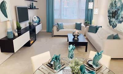Living Room, Sovereign & Saxony Apartments, 1