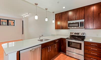 Kitchen, Griffin Apartments at Petworth Metro, 0