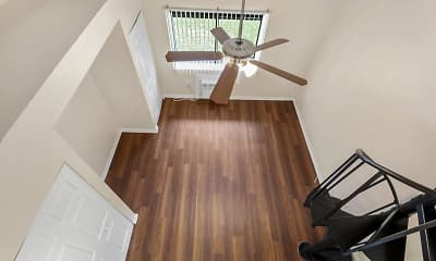 staircase with parquet floors and a ceiling fan, Tzadik Oaks, 2