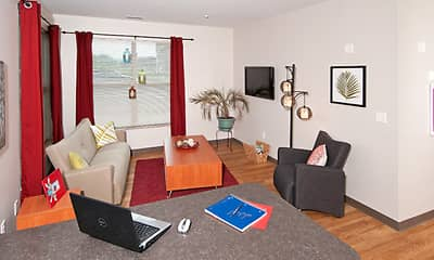 Living Room, College Suites at Washington Square - Per Bed Lease, 1