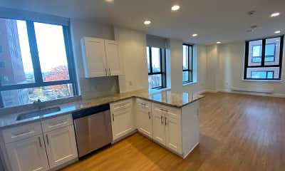 Kitchen, Red Oak at 875 Elm Street Apartments, 1