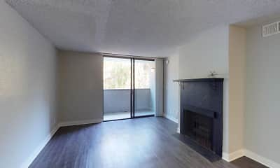 hardwood floored living room with natural light and a fireplace, 4250 Coldwater Canyon, 2