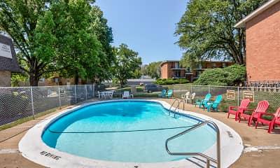 Pool, Crysler Plaza West and Crysler Plaza East, 1