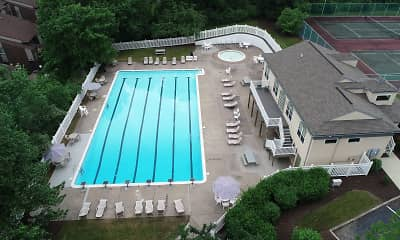 view of pool with a yard, Treeview Apartments, 2
