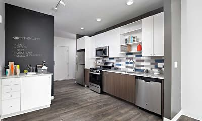 kitchen featuring microwave, refrigerator, gas range oven, stainless steel dishwasher, granite-like countertops, dark parquet floors, and white cabinetry, AVA North Point, 1