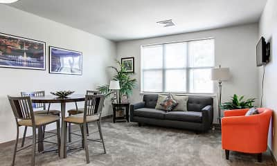 Living Room, Oak Hill Apartments, 1