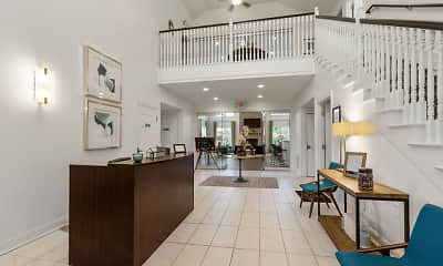 foyer with a high ceiling, tile flooring, and TV, Marble Cliff Commons, 1