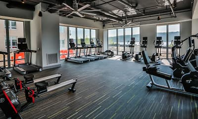 Fitness Weight Room, Apex Hudson Riverfront, 1