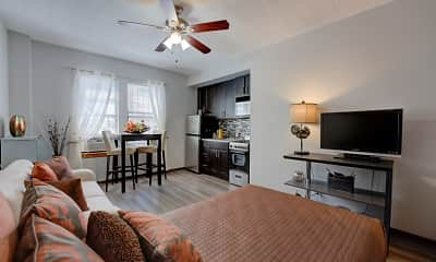 Living Room, Dearborn Plaza Apartments, 2
