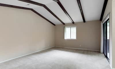 additional living space featuring carpet, lofted ceiling with beams, and natural light, Fontenelle Hills, 2