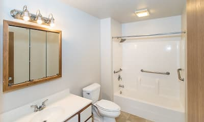 Bathroom, Pine Crest and Hickory Apartments, 2
