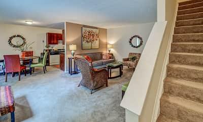 Living Room, Heather Glen Townhomes, 1