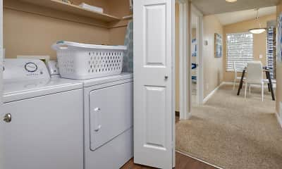 laundry room featuring carpet, natural light, and separate washer and dryer, Loretto Heights Apartments, 2