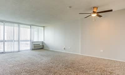 carpeted empty room with a ceiling fan and a wealth of natural light, The Township at St. Charles Apartments, 2
