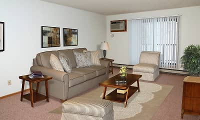 Living Room, Woodstone Apartments, 1