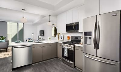 Kitchen, Griffin On Spring - Furnished & Flexible Lease Options, 0