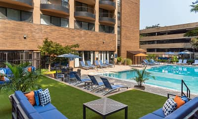 view of pool featuring an expansive lawn, The Point at Pentagon City, 1