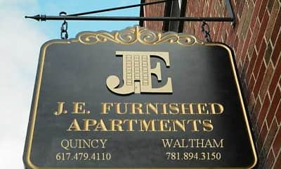 Community Signage, J.E. Furnished Apartments Quincy, 2
