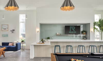 dining space featuring tile floors, natural light, and TV, Rockledge Flats Apartments, 1