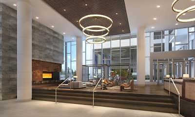 community lobby with a fireplace, Cortland Vesta, 2