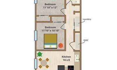 floor plan, Broad Ripple Flats, 0