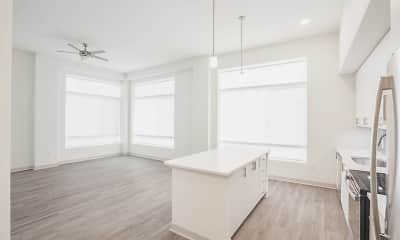 kitchen featuring a wealth of natural light, a ceiling fan, refrigerator, electric range oven, pendant lighting, light countertops, white cabinetry, and light hardwood flooring, Vista Brooklyn, 1