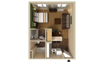 Bedroom, Furnished Studio - Boston - Waltham - 52 4th Ave., 2