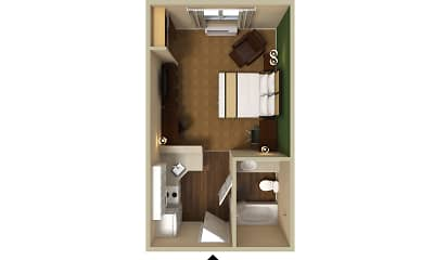 Bedroom, Furnished Studio - Columbus - Worthington, 2