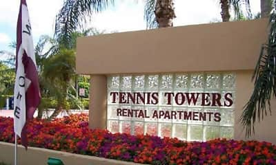 Community Signage, Tennis Towers Apartments, 0