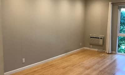 empty room featuring a ceiling fan, hardwood flooring, and natural light, Camille North Apartments, 1