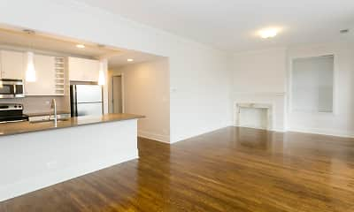 living room featuring parquet floors, a kitchen island, stainless steel appliances, and range oven, Paramour, 0