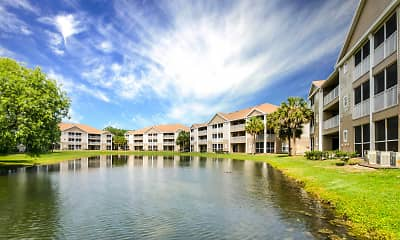 property view of water featuring a lawn, Village Lakes At Lake Orlando, 1
