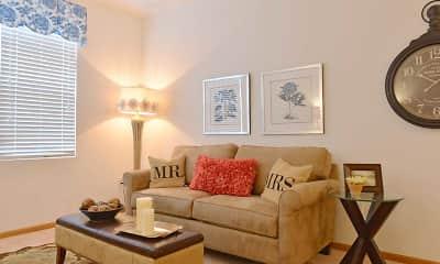 Living Room, Brookfield Village Apartments, 1