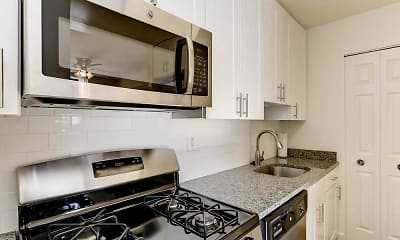 Kitchen, Hallfield Apartments, 0