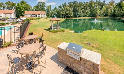 view of terrace with a water view and an expansive lawn, Rocky Creek, 2