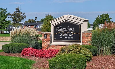 Community Signage, Williamsburg on The Lake Apartments of Mishawaka, 2