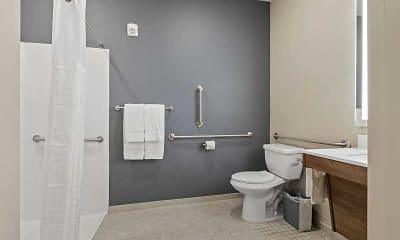 Bathroom, Furnished Studio - Savannah - Pooler, GA, 2