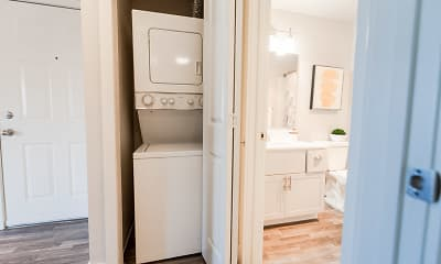 laundry area featuring parquet floors and washer / dryer, Northpoint Apartments, 2