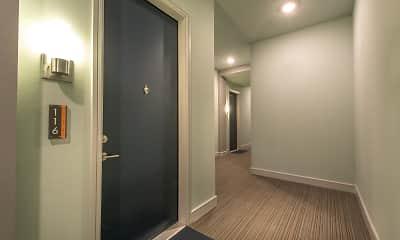 hallway featuring parquet floors, Uptown @ Cole Park, 2