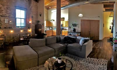 Living Room, Historic Fifth Ward Lofts, 0