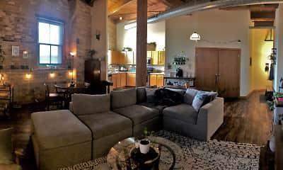 Living Room, Historic Fifth Ward Lofts, 0