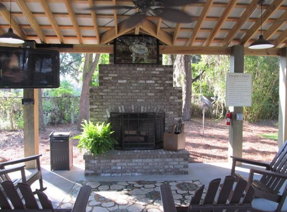 Gazebo with cozy fireplace and flat screen tv for resident enjoyment!