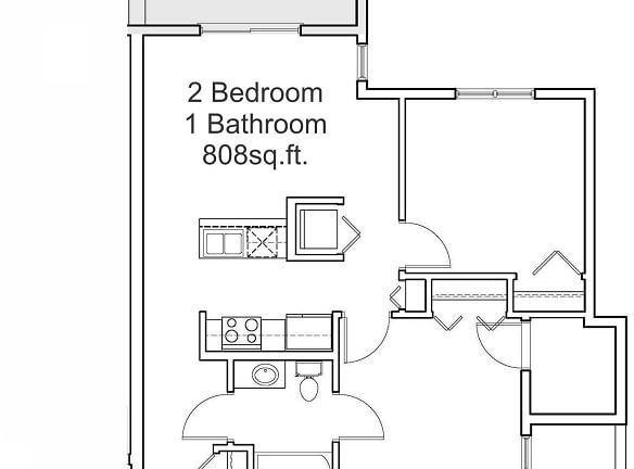 808sq.ft. 2 Bedroom 1 Bathroom
