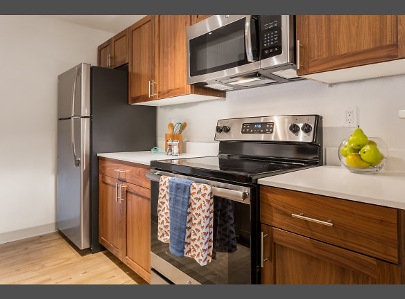 Beautiful all-wood cabinets. Artesia Apartments Everett, WA