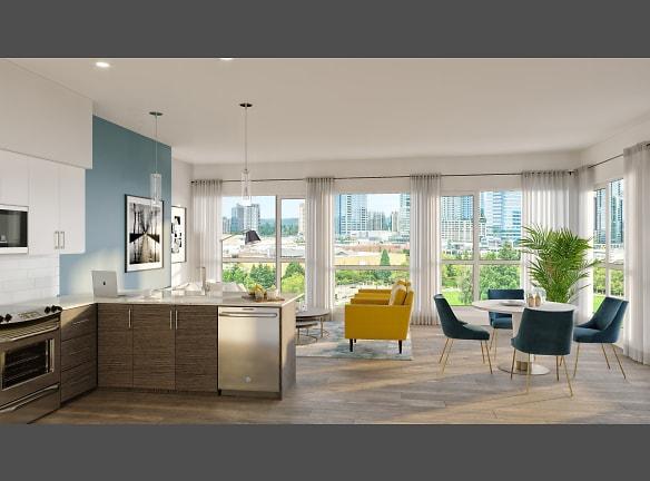 BLU Bellevue Apartments Model Kitchen and Living Room Rendering