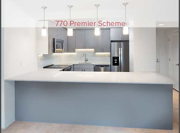 770 Premier Scheme kitchen with quartz countertops and stainless steel appliances (in select homes)