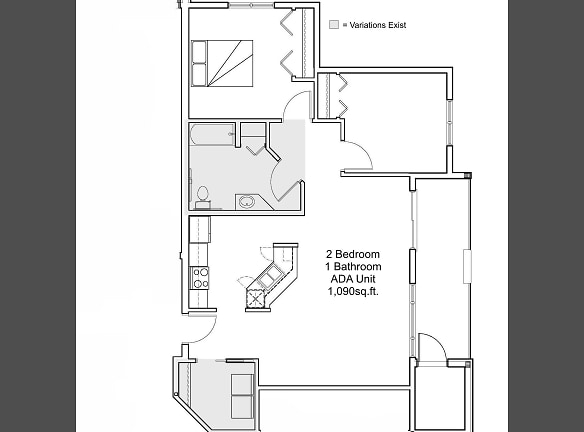 2 bedroom 1 bathroom ADA floor plan