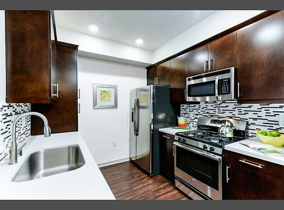 Kitchens with stainless steel appliances and hard surface vinyl plank flooring