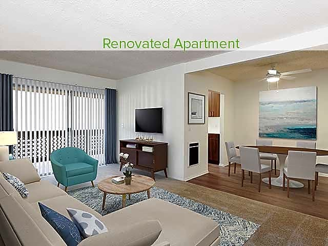 Two-bedroom Renovated living and dining area with hard surface vinyl plank flooring (in select homes)