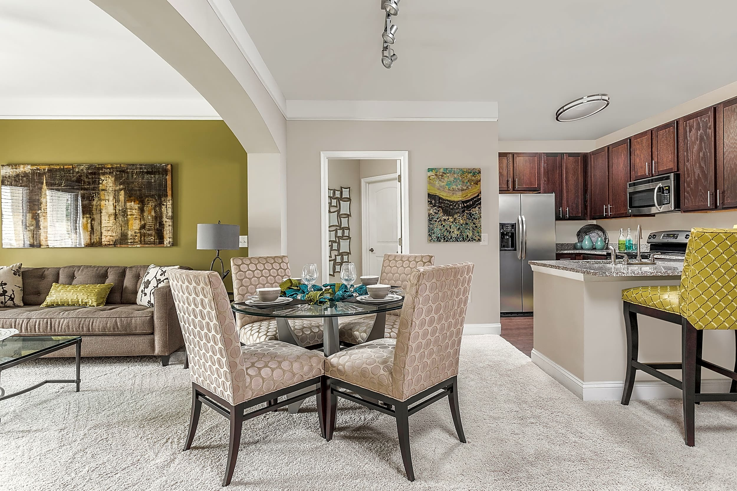 Open Dining, Living Room and Kitchen - Creekstone at RTP